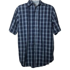 Small BASIC EDITIONS Blue White Plaid Button Up T